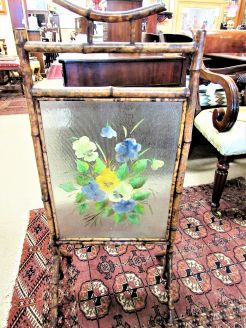 Bamboo and hand painted glass screen