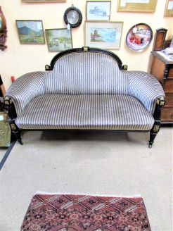 Victorian ebonized gilt mounted settee