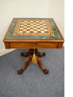 19th century mahogany & marble top games table
