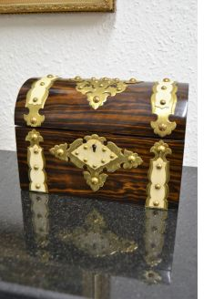 Victorian stationary box with brass /gilded overlay