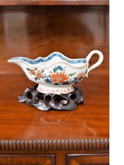 Chinese 18th century sauce boat on stand