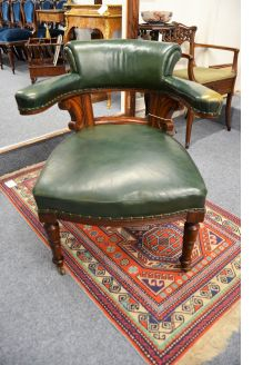 Victorian mahogany & leather desk chair