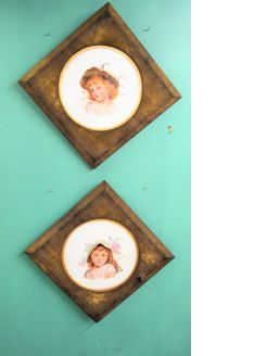 Pair victorian painted porcelain pannels