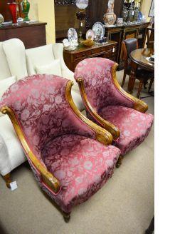 Pair walnut armchairs