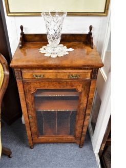 Victorian burr walnut glass fronted music cabinet