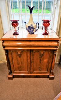 Victorian rosewood marble top side cabinet