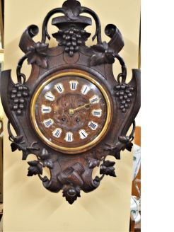 Victorian carved oak french wall clock