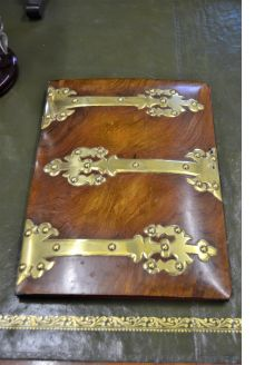 Victorian walnut & brass bound blotter