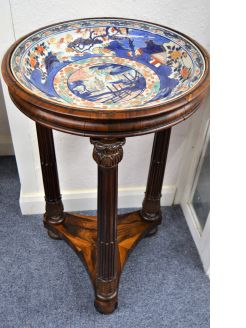 Late 17th century / early 18th century japanese arita dish on rosewood stand