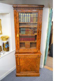 19th century burr walnut bookcase