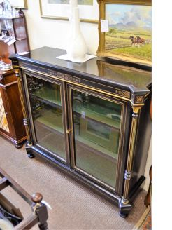 Victorian ebony two door  display cabinet