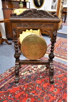 Victorian carved oak & brass gong