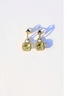 Pair of 9ct gold diamond & peridot earrings