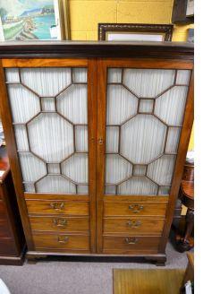 Georgian mahogany glass fronted wardrobe
