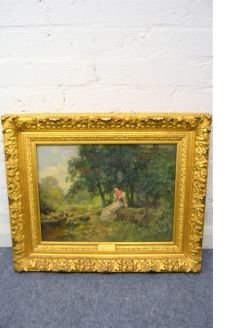 Gilt framed oil painting by henry john yeed king