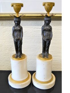 Pair of 19th century bronze & marble candlesticks