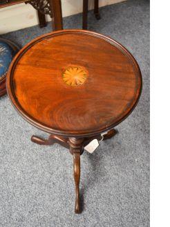 Vintage inlaid mahogany wine table