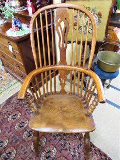19th century oak & elm windsor armchair