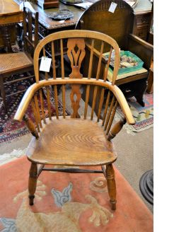 19th century windsor oak armchair