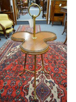 Mahogany brass top table with rasied gallery