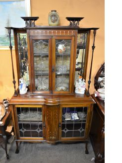 Art nouveau mahogany display cabinet