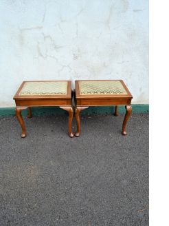 Pair of 1930s walnut and parcel gilt stools