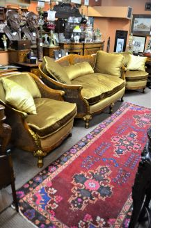 Three piece walnut & gilt  double skin berger suite