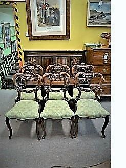 Set of six victorian carved mahogany chairs