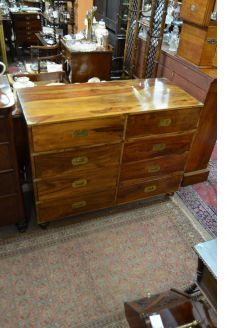 Mahogany campaign style chest of drawers