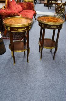 Pair side tables with inlay and brass gallery