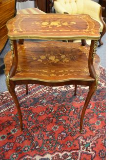 Edwardian three tier inlaid table