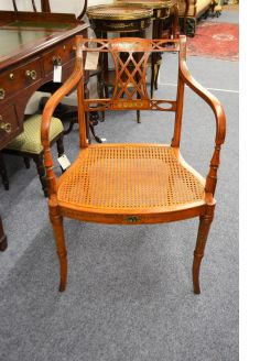 Victorian painted satinwood armchair