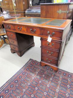 Leather top pedestal desk