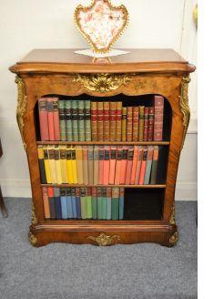 Victorian burr walnut floor bookcase with gilt bronze mounts