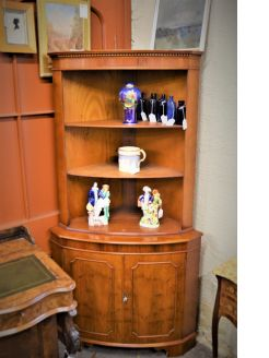 Large yew wood corner cabinet
