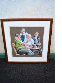 Framed drawing of card players, signed
