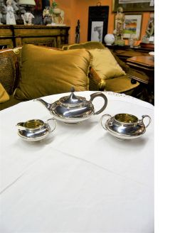 Three piece silver tea set