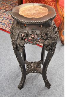 Chinese marble top  cherrywood plant stand