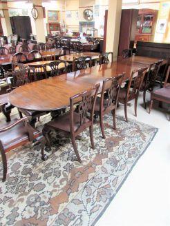1920s mahogany triple pedestal table