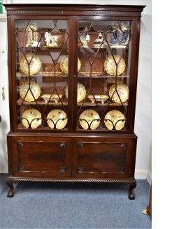 Two door edwardian mahogany display cabinet