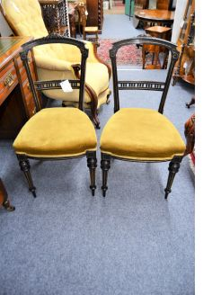Pair of victorian ebonized chairs