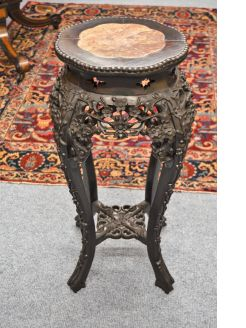 Chinese cherrywood plant stand with marble top