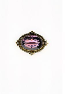 Victorian 15ct gold amethyst brooch
