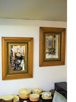 Pair victorian oak framed painted mirrors