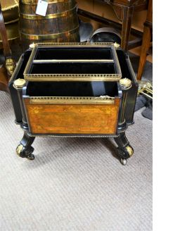 19th century ebony & walnut canterbury