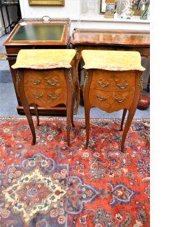 Pair mahogany marble top pedestals