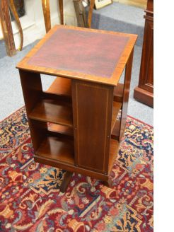 1920s leather top revolving bookcase