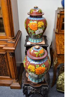Pair of large chinese cloisonne vases