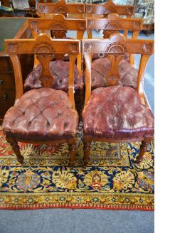 Set of ten victorian mahogany chairs with leather Buttoned seats