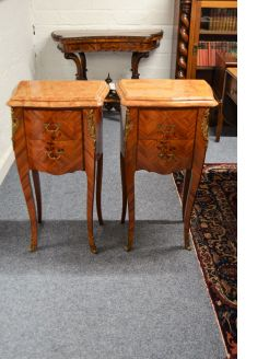 Pair french marble top pedestals